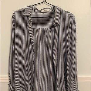 Navy and white stripped Blouse/ Dress Shirt